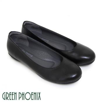 【GREEN PHOENIX】極簡素面全真皮平底娃娃鞋-黑色