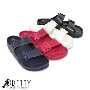 【Pretty】情侶款/超輕量舒適防水女款拖鞋-白色、黑色