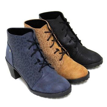 【Pretty】率性豹紋拼接綁帶粗高跟短靴-藍色、棕色、黑色