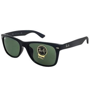 【Ray Ban 雷朋】RB2132F-901-58 圓弧Wayfarer亞洲版型太陽眼鏡(黑框綠鏡面)