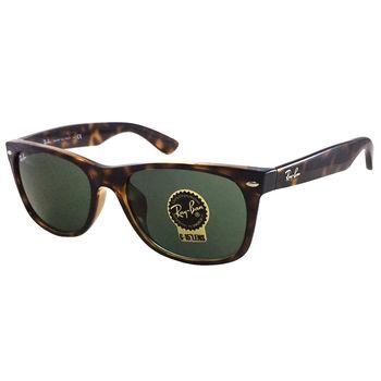 【Ray Ban 雷朋】RB2132F-902-58 圓弧Wayfarer亞洲版型太陽眼鏡(琥珀框綠鏡面)