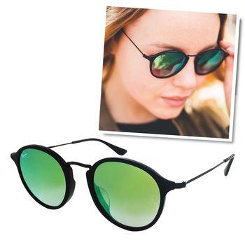 【Ray Ban 雷朋】2447F-901/4J-49 亞洲版復古圓框太陽眼鏡(黑框/水銀綠鏡面)