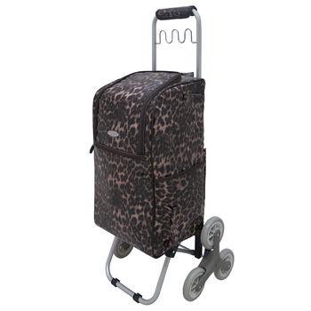 卡蘿輕便時尚購物車-36L波浪三輪-時尚豹紋 (可上下樓梯)