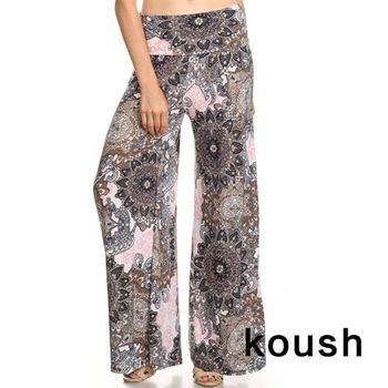 【Kuosh】美國進口優雅古典圖騰寬版長褲(NW-6048)