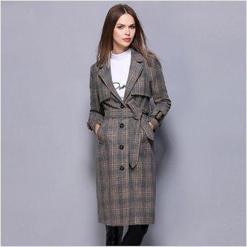 (現貨+預購 RN-girls)-歐美秋冬新品復古格紋翻領顯瘦收腰外套
