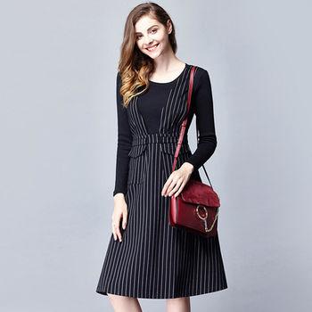 【M2M】圓領長袖上衣條紋吊帶中長裙兩件套