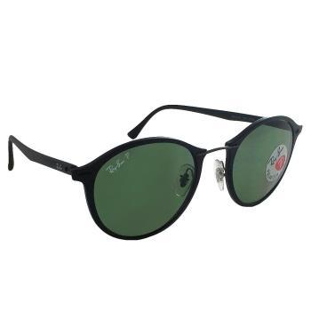 【Ray Ban 雷朋】4242-601S/9A-49 超輕LightRay系列/復古圓框無螺絲設計/偏光太陽眼鏡(黑框#綠鏡面)