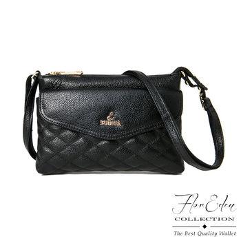 DF Flor Eden - 歐式時尚菱格紋牛皮磁扣斜側背包