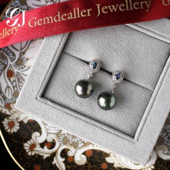 [晉佳珠寶] Gemdealler Jewellery 女人專屬 天然大溪地南洋黑珍珠藍寶真鑽耳環11.20mm