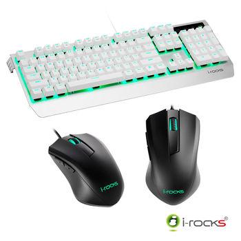 i-Rocks K60M機械式鍵盤-銀白+M09遊戲滑鼠