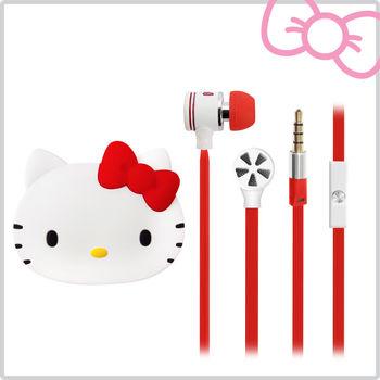 Hello Kitty經典耳道式線控耳機 附造型收納盒-甜蜜紅