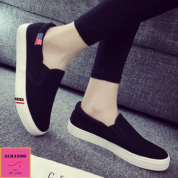 ALMANDO-SHOES ★美式休閒厚底平底鞋★帆布樂福鞋 (黑色)