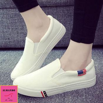 ALMANDO-SHOES ★美式休閒厚底平底鞋★帆布樂福鞋 (白色)