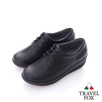 Travel Fox (女) 輕量好走系列 牛皮微楔跟休閒鞋- 黑