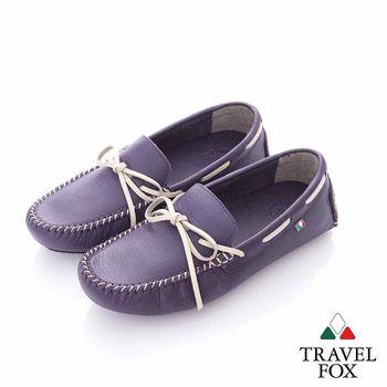 Travel Fox (女) 旅伴 牛皮軟底舒適多彩司機帆船鞋-暗戀紫
