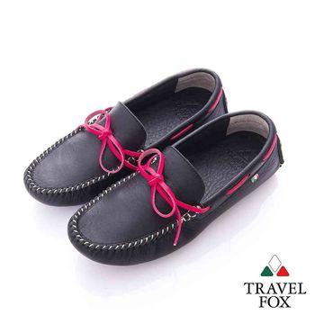 Travel Fox (女) 旅伴 牛皮軟底舒適多彩司機帆船鞋-俏麗黑