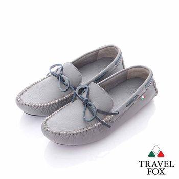 Travel Fox (女) 旅伴 牛皮軟底舒適多彩司機帆船鞋-石頭灰