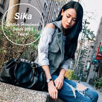 Sika義大利時尚牛皮奢華典雅兩用手提包L6174-03質感黑