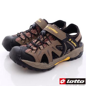 Lotto樂得-排水運動護趾涼鞋-MS3103咖啡(男款)