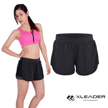 LEADER FTS-104假兩件 彈性吸排運動短褲 女款 黑灰   內層貼身安全短褲,大動作不走光