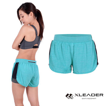 LEADER FTS-104假兩件 彈性吸排運動短褲 女款 果綠  內層貼身安全短褲,大動作不走光