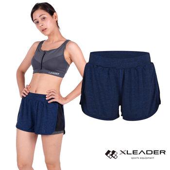 LEADER FTS-104假兩件 彈性吸排運動短褲 女款 深藍 內層貼身安全短褲,大動作不走光