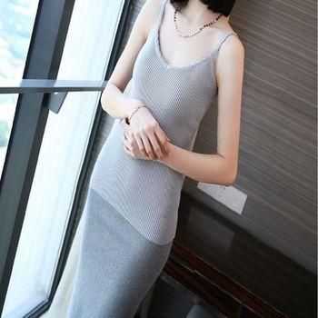 秋夏新款修身性感針織女背心時尚細帶低領吊帶 2入