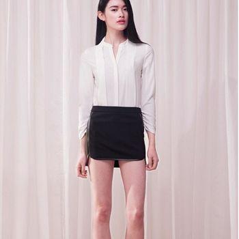 季春夏新款包臀黑色拼接皮裙短款半身裙女 2入