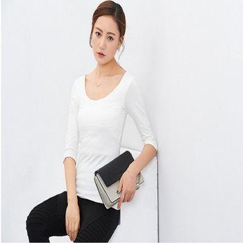 秋季女裝簡約大圓領中袖修身外穿打底衫五分袖純色T卹  2  入