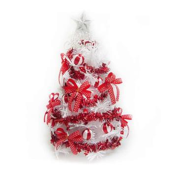 (預購3-5天出貨)台灣製迷你1呎/1尺 (30cm)紅色蝴蝶結裝飾白色聖誕樹
