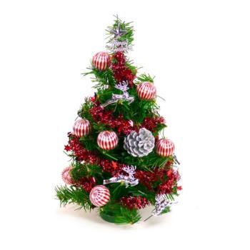 (預購3-5天出貨)台灣製迷你1呎/1尺 (30cm)裝飾聖誕樹(銀松果糖果球色系)