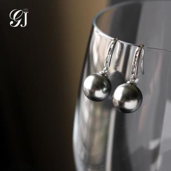 [晉佳珠寶] Gemdealler Jewellery 典雅  天然大溪地黑珍珠18K金耳環 11.3mm
