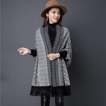 【Jisen】豹紋針織貂絨披肩外套