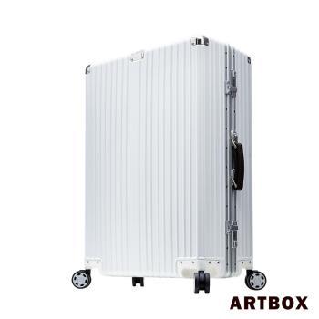 【ARTBOX】絕仕使徒-24吋皮革提把PC鏡面鋁框行李箱(石英白)