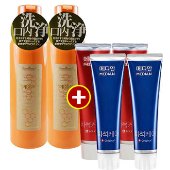 【買二送四】Propolinse蜂膠漱口水(600ml)x2+韓國麥迪安牙膏(120g)X4