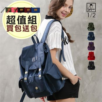 1/2princess輕便耐重防潑水尼龍三口袋後背包 買就送品牌手機包[A2723]