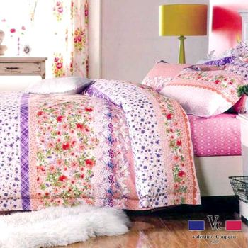 【Valentino范倫鐵諾】100%純棉印花床包兩用被套四件組-雙人加大48012