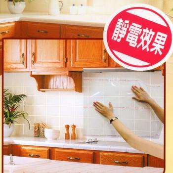 【金德恩】 廚房防油汙自黏透明壁貼(12張入)加碼贈  CUTE可愛造型水果叉(60入)