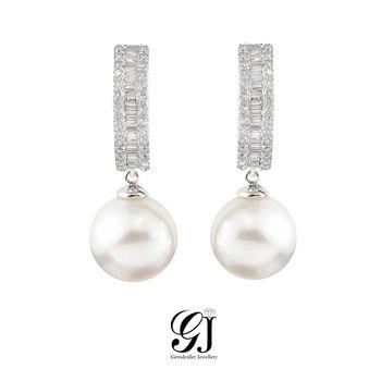 [晉佳珠寶] Gemdealler Jewellery 耀眼 天然白珍珠18K金T鑽 耳環 10.7mm