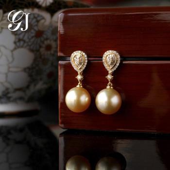 [晉佳珠寶] Gemdealler Jewellery  女皇 天然南洋金珍珠鑽石18k金耳環 10.2mm