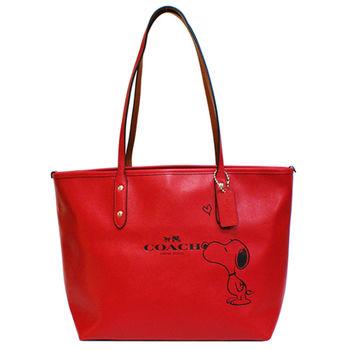 【COACH】SNOOPY限量聯名款皮革手提肩背兩用托特包(紅)