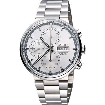 MIDO Commander 指揮官系列計時機械腕錶-銀/42.5mm M0144141103100