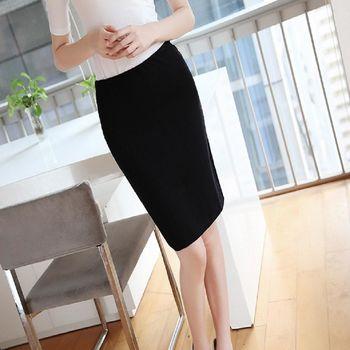 新款春夏中長款半身裙修身性感包臀裙黑色半身裙小黑裙 2入