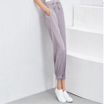 新款大碼寬鬆九分褲鬆緊腰寬鬆褶皺休閒小腳哈倫褲 2入