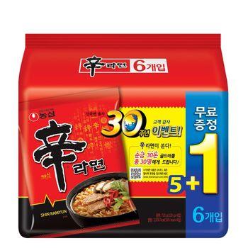 【農心】辛拉麵5+1特別版(120gX6包/8組)