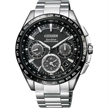 CITIZEN Eco-Drive衛星對時鈦金屬腕錶-黑/44mm CC9015-54E