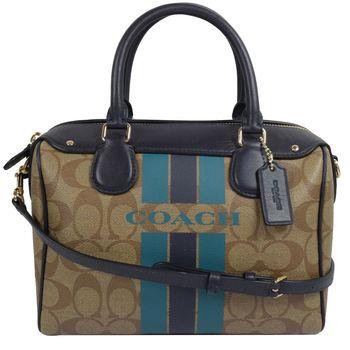 COACH 38401 馬車LOGO條紋防水PVC兩用波士頓包.駝/深藍