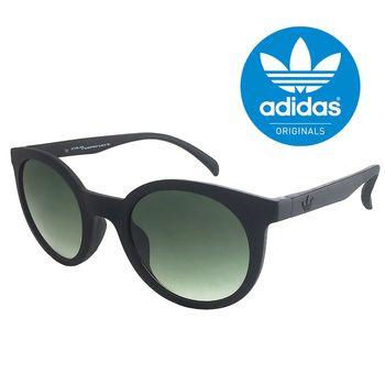 【adidas 愛迪達】潮流復古圓框太陽眼鏡/運動眼鏡#黑框-漸層綠鏡面(013009009)