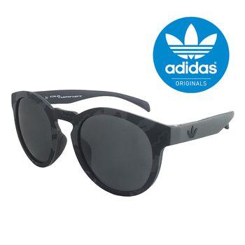 【adidas 愛迪達】潮流復古圓框太陽眼鏡/運動眼鏡#迷彩框-灰色鏡面(009143070)