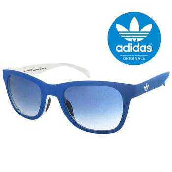 【adidas 愛迪達】經典愛迪達藍白色系三葉草LOGO太陽眼鏡/運動眼鏡#藍框(004027001)